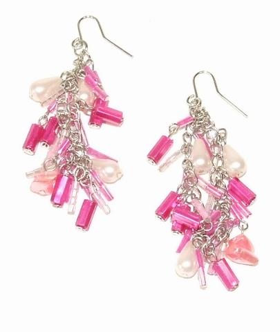 Oorbellen roze 885533 | Oorbellen met kraaltjes roze