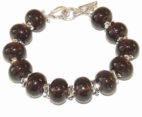 Armband Sylvia Best 78994 | Armband glaskralen zwart/bruin