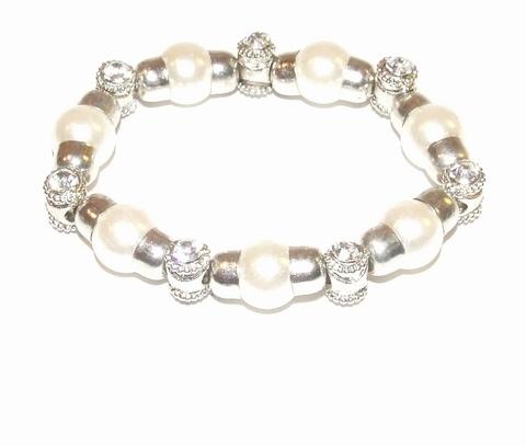 Armband parel 671299 | Armband met parels en strass
