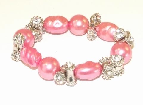 Armband oudroze 595595 | Armband parels/strass oud roze
