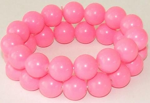 Armband fel roze 09533 | Armband 2 rijen kralen fel roze