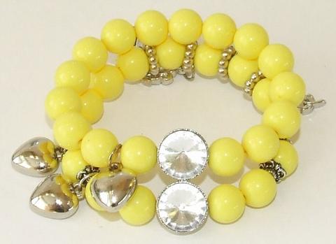 Armband geel 199100 | Gele armband met bedels en strass