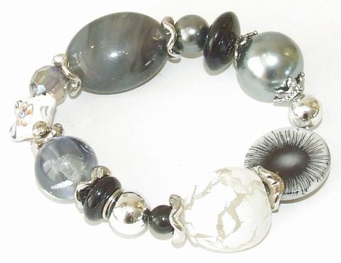 Armband zwart-grijs 669001 | Armband met kralen zwart/grijs