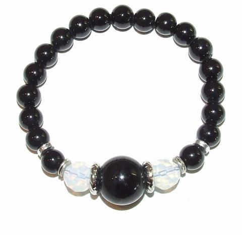 Armband parels 1118 | Armband parels zwart/wit