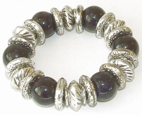 Armband zwart 791322   Trendy armband met kralen zwart