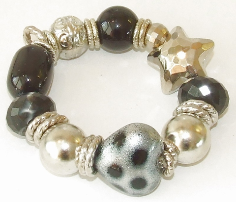 Armband 631900 | Armband grote kralen zwart/grijs