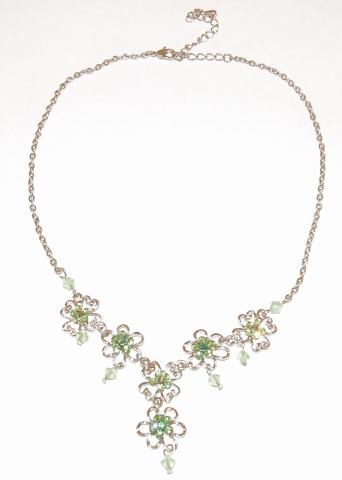 Ketting groen 781399 | Ketting met groene strass steentjes