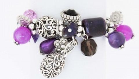 Armband paars 49004 | Moderne paarse armband met bedels