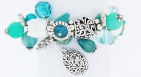 Armband turquoise 49005 | Moderne armband met bedels