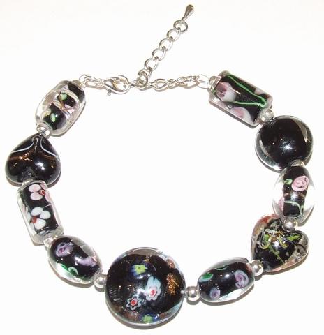 Armband zwart 79112 | Armband met zwarte glaskralen