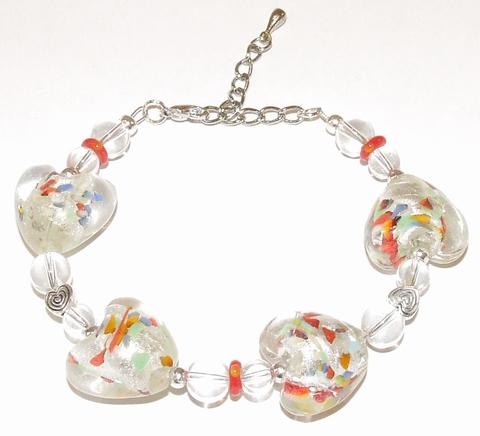 Armband harten 79152 | Armband met glazen hart kralen
