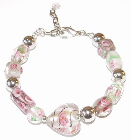 Armband glaskralen roze 77101 | Armband glaskralen roze