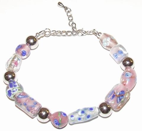 Armband roze 76101 | Armband glaskralen roze