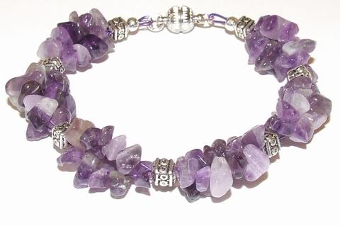 Armband paars 404040 | Armband met paarse natuursteentjes