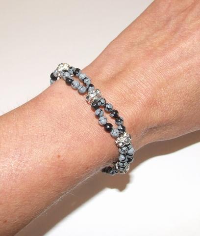 Armband snowflake 60010 | Armband edelstenen grijs/zwart