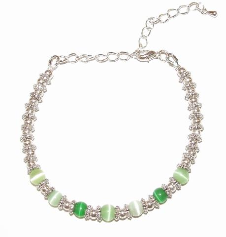 Armband cateye groen 39002 | Armband cateye/metalen kralen
