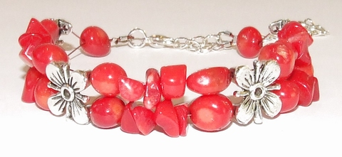 Armband Koraal 25001 | Armband edelstenen/metaal rood