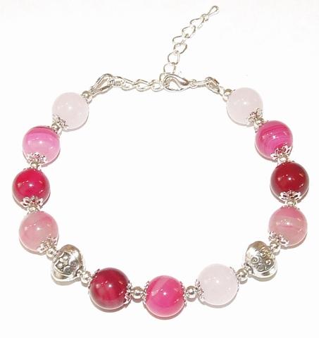 Armband Agaat 77202 | Opvallende armband edelsteen roze