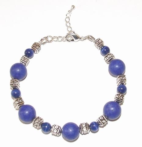 Armband Lapis 55601 | Opvallende armband edelstenen/metaal