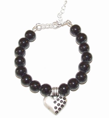 Armband zwart 00442 | Zwarte armband met hart