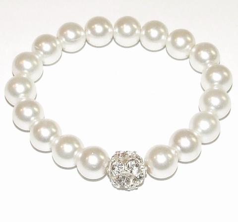 Armband parel 21502 | Armband met parels/strassballetje