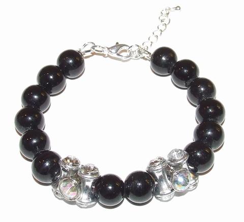 Armband zwart 16981 | Zwarte armband glaskralen/strass