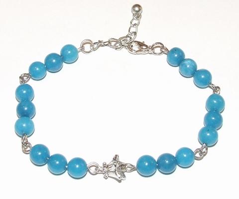 Armband tulp 94141 | Armband edelsteen/metaal turquoise
