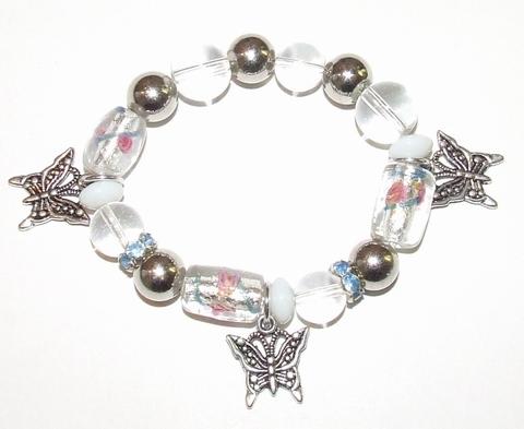 Armband met vlinder bedels en strass-rondellen