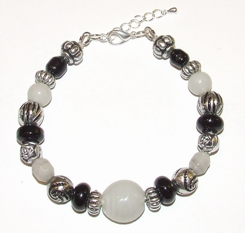 Armband zwart/grijs 20523 | Armband glas/metallook kralen