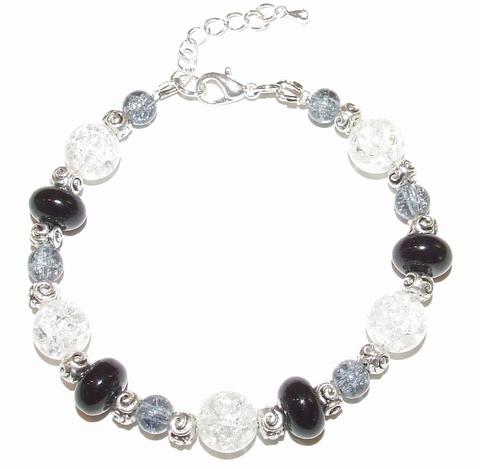 Armband glaskralen 48521 | Armband glaskralen zwart/grijs