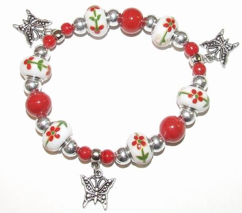 Armband rood 960 | Rode armband met vlinder bedels