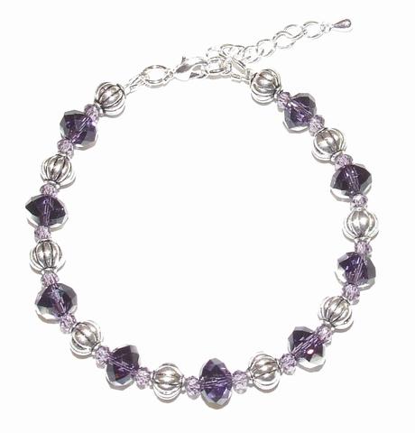 Armband paars 43190 | Armband paarse kristal steentjes