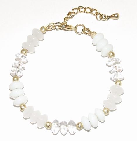 Armband wit 97193 | Armband glaskralen goudkleurig