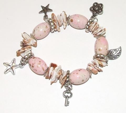Armband met schelpen 19002 | Armband roze/creme