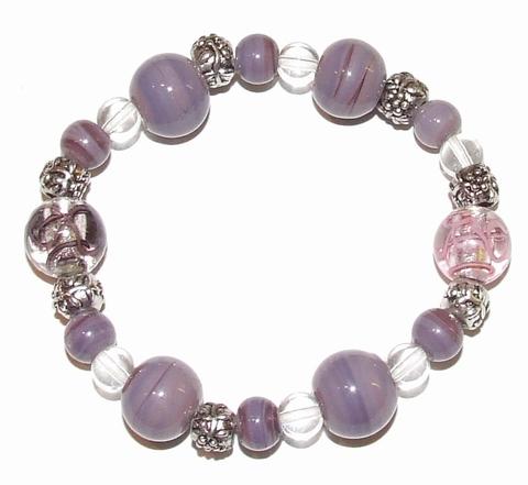 Armband paars 66901 | Trendy paarse armband glaskralen