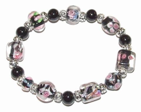 Armband zwart 54230 | Armband met zwarte glaskralen
