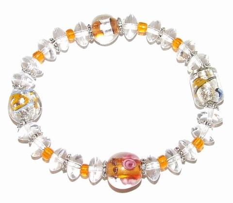 Armband glaskralen 65410 | Trendy armband glaskralen/metaal