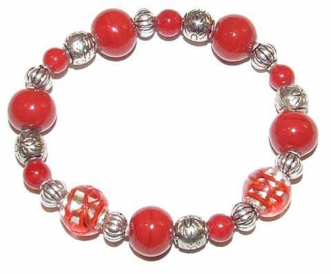 Armband rood 49199 | Trendy rode armband glaskralen