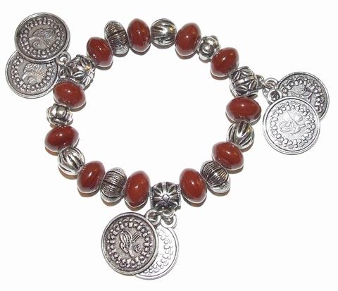 Armband bruin 89036 | Trendy bruine armband met bedels