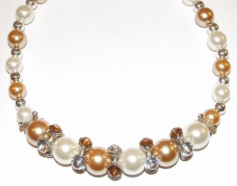 Ketting parels 79004 | Ketting grote parels en strass