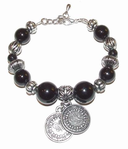 Armband zwart 67631 | Armband zwarte glaskralen en bedels