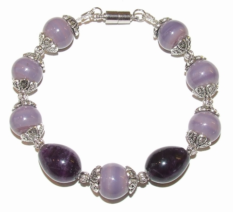 Armband paars 45198 | Paarse armband edelsteen/glas/metaal