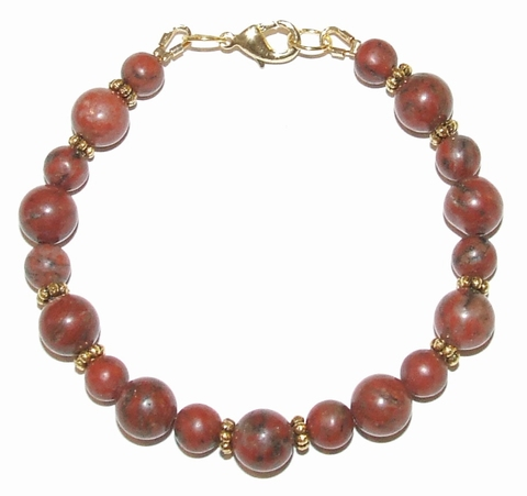 Armband Rode Jaspis 95161 | Armband natuursteen rood/bruin