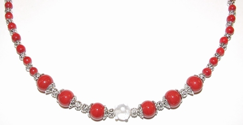 Ketting rood 94161 | Rode ketting glas/metalen kralen