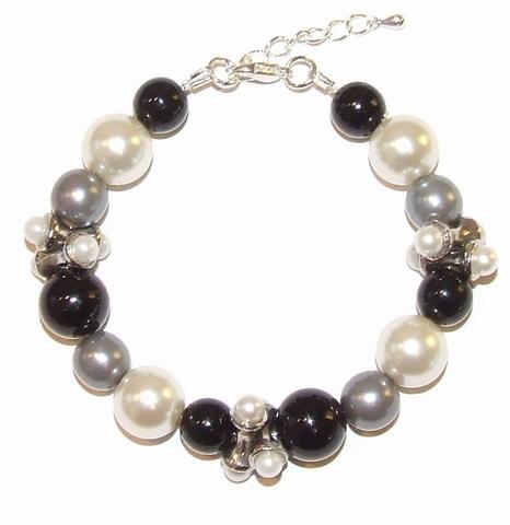 Armband parels 67130 | Armband zwart-grijs-parelmoer