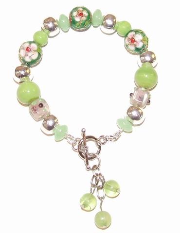 Armband groen 87135 | Armband glas/metaal/cloisonné-kralen