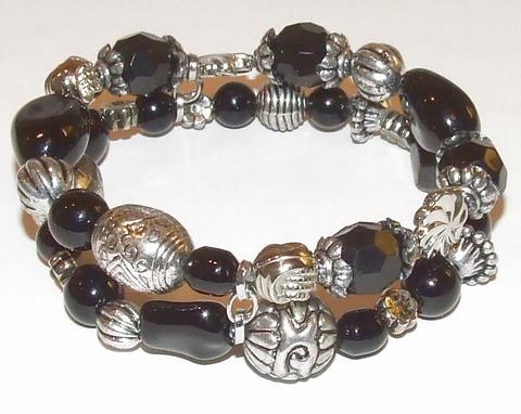 Armband zwart 87951 | Armband met 2 rijen zwarte kralen