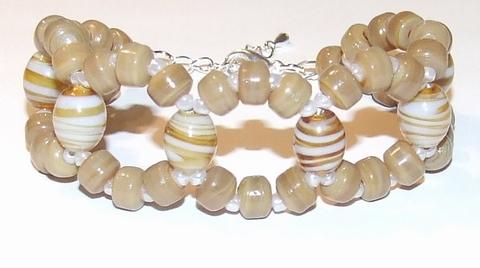 Armband bruin 68121 | Aparte armband met bruine glaskralen
