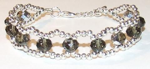 Armband bruin kristal 66310 | Bruine armband kristal/metaal