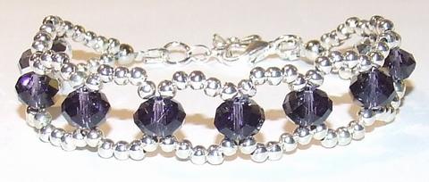 Armband paars kristal 99131 | Paarse armband kristal/metaal
